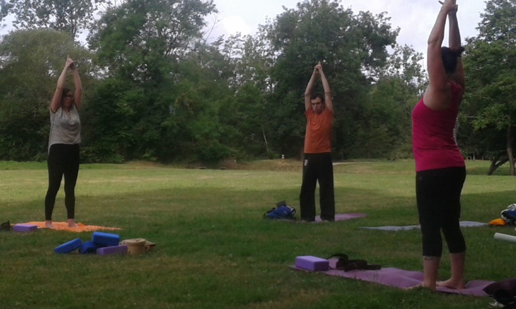 yoga class at the campsite